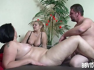 Big breasted mature BBW german slag riding cock