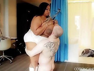 Huge Ebony BBW Smothers and Crushes Slave Boy
