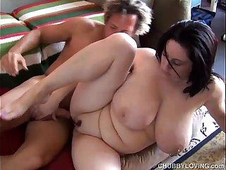 Beautiful busty BBW brunette is a very hot fuck