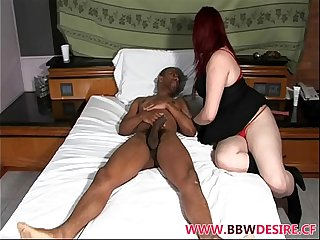 Redhead BBW Iris Sucks and Rides Big Black Cock