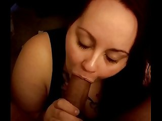 Tatted white bbw sucking big brown cock