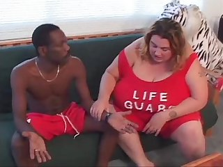BBW lifeguard fucks black guy