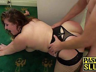 Young BBW Estella Bathory slobbers dildo before penetration