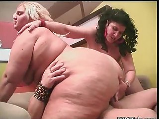 Amateur fat orgy involving two large