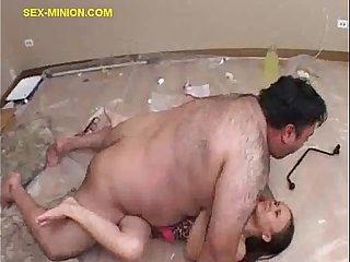 Brunette rides fat minion guy