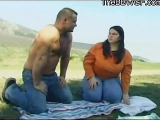 Horny Fat BBW GF with big tits fucking with her BF outdoors
