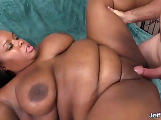 Chubby black girl Olivia Leigh swallows fat cock in mouth and pussy