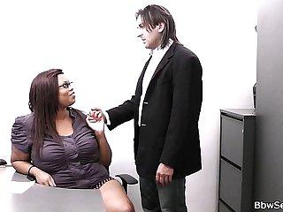 Married boss cheating with fat ebony secretary