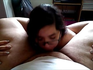 Teen deepthroats fat guy