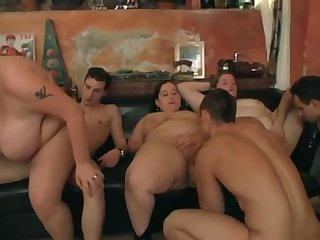 BBW fat pussys getting drilled in orgy