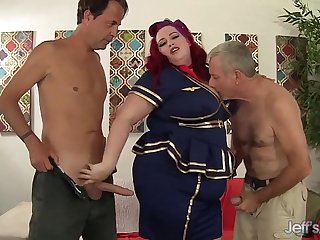 Sexy redheaded plumper Eliza Allure gets double penetrated